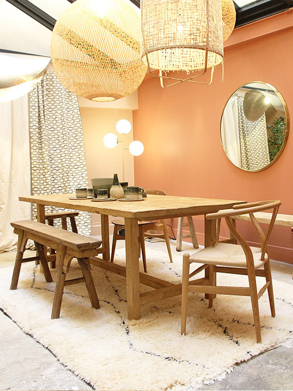 Dining Table, Raw Elm wood 180 x 90 cm