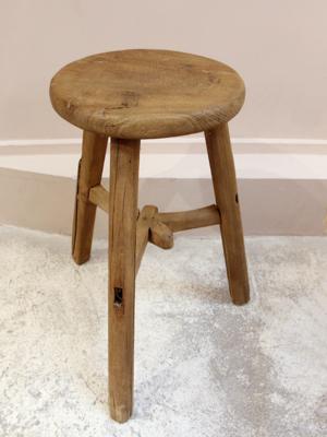 elm-wood-vintage round-stool